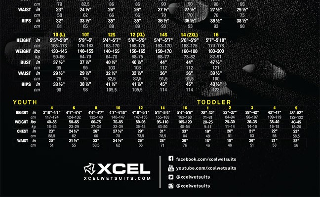 Xcel Size Chart